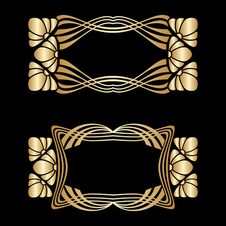 arabesque pattern: Vector art deco golden frames with space for text.