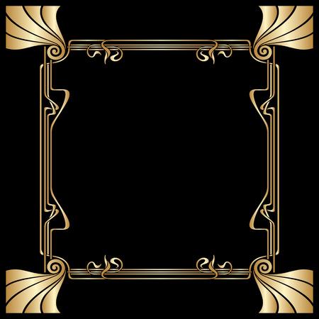 Vector Art-Deco-goldener Rahmen mit Platz für Text.