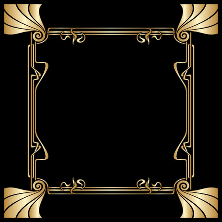 golden frame: Vector art deco golden frame with space for text.