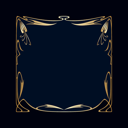 gold ornaments: Vector art deco golden frame with space for text.