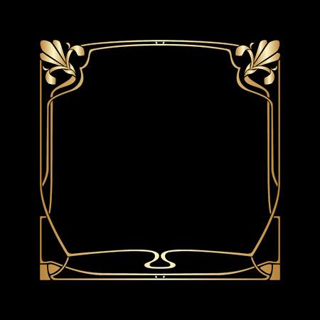 Vector goldener Rahmen des Art Deco mit Platz für Text.