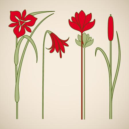 Vector art nouveau floral elements for print and design. Vector Illustration