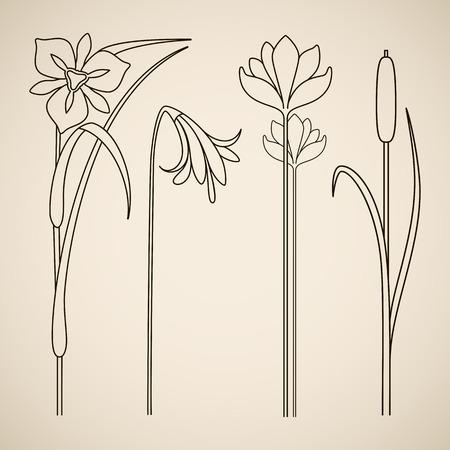 Vector art nouveau floral elements for print and design.  イラスト・ベクター素材