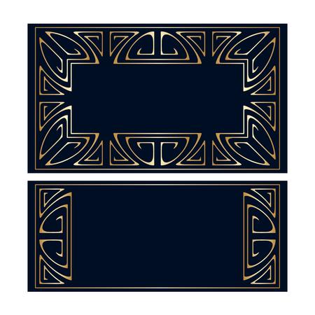 golden frames: Vector art deco golden frames with space for text.