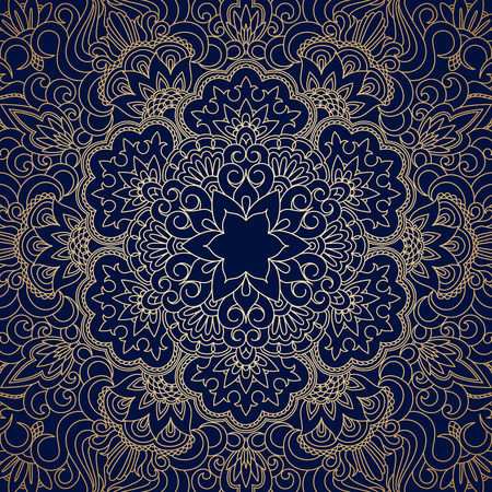 floral vintage: Vector background with gold floral vintage pattern.