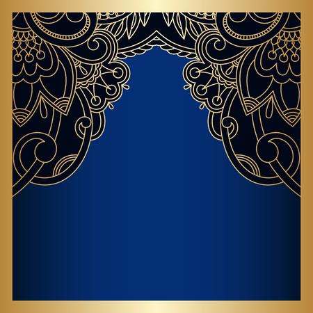 Vector vintage floral decorative background for design invitation card, booklet, print. Gold and blue. Illustration