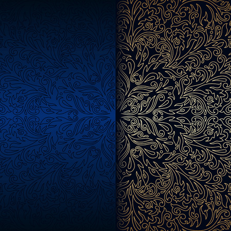 Vector vintage floral decorative background for design invitation card, booklet, print. Gold and blue. Illustration