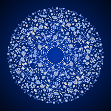 Vector round floral vintage pattern. 일러스트