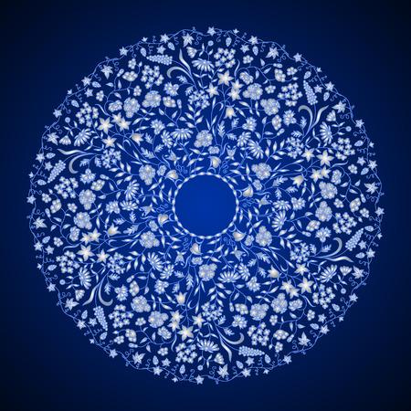 Vector round floral vintage pattern. Illustration