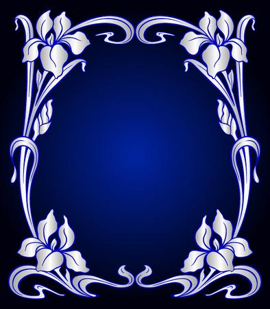 Vector Art Nouveau Vintage Hintergrund mit Iris für Design-Einladung, Verpackung, Broschüre, Print. Standard-Bild - 80203651