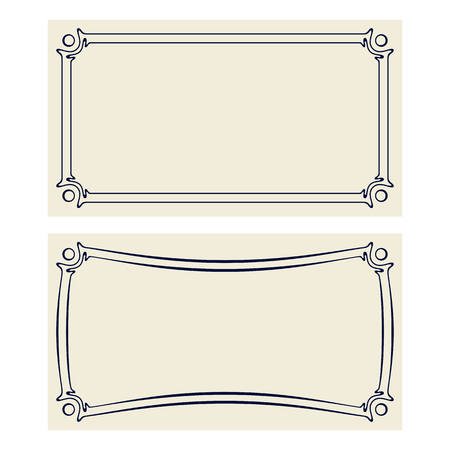 Vector invitation cards with art nouveau frames and space for text.