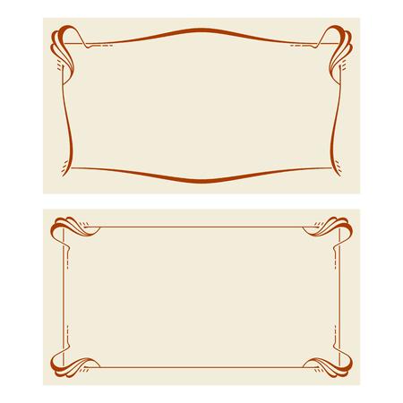 テキストのアール ヌーボー様式のフレームと空間ベクトル招待状。