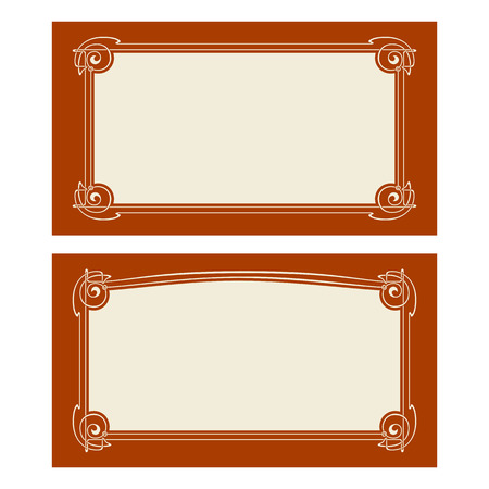 Vector uitnodigingskaarten met jugendstil-frames en ruimte voor tekst. Stock Illustratie