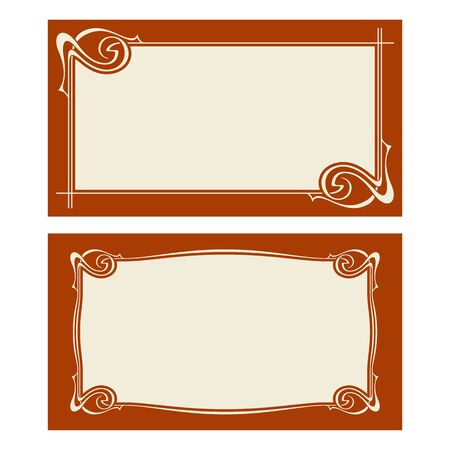 Vector Invitation Cards With Art Nouveau Frames And Space For ...