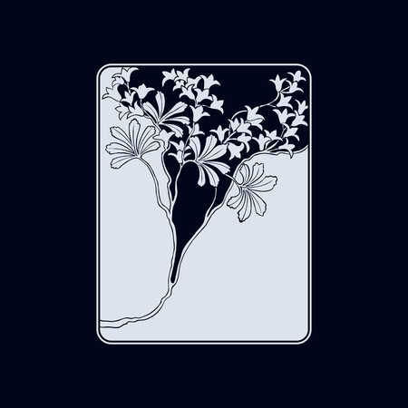 Vector art nouveau floral ornament with space for text for design invitation card,  booklet, print.