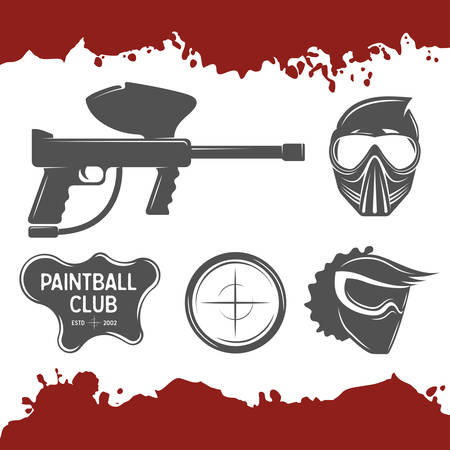 paintball: Vector paintball design elements set.