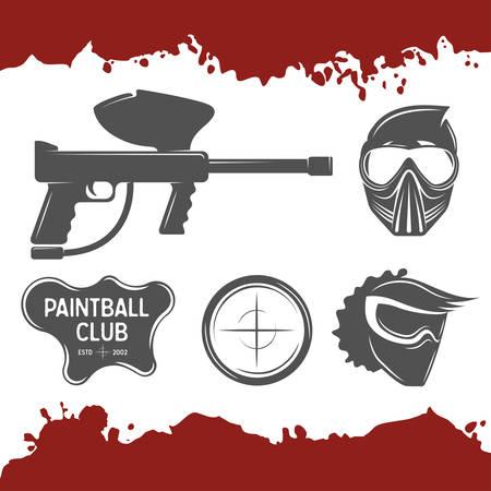 paintball: Vector paintball design elements set.