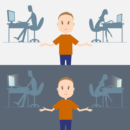 parent and teenager: Vector illustration of computer addiction in family. Illustration