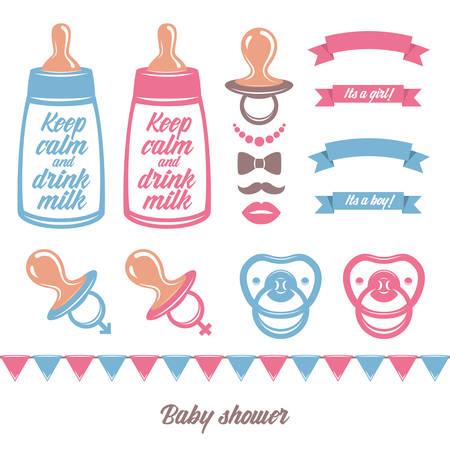 babero: Bebé ducha vector conjunto de elementos de diseño. Vectores