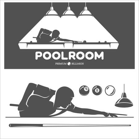 Billiard and pool vector set of design elements.