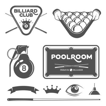 Billiard and pool vector set of design elements.