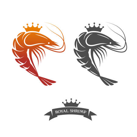 logos restaurantes: Camarones Real signo ilustraci�n vectorial