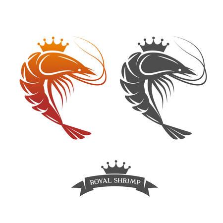 logo poisson: Crevettes royal signe illustration vectorielle Illustration