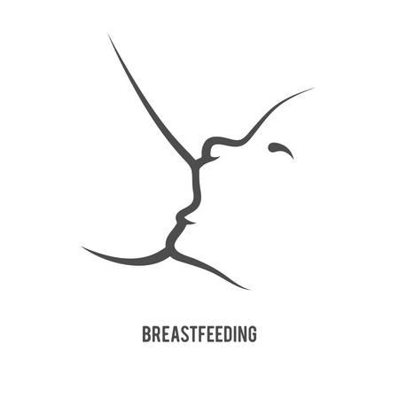 breastfeeding: Breast feeding sign in line-art style.