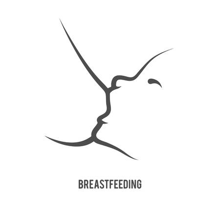 Breast feeding sign in line-art style.