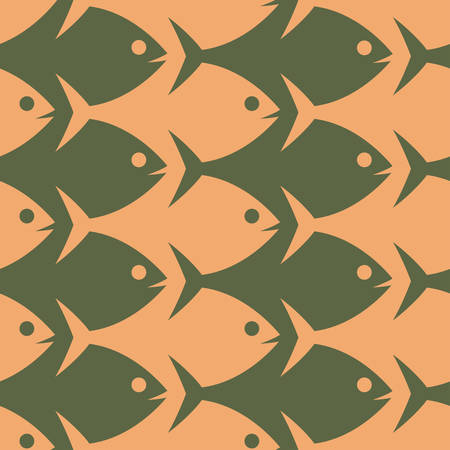 futurism: Fish seamless colored pattern in esher style. Illustration