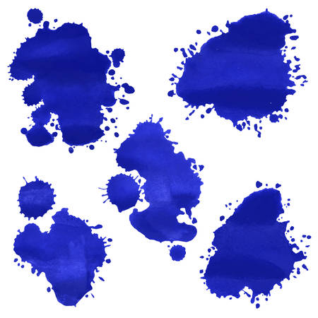 deep blue: Vector watercolor deep blue splashes. Illustration