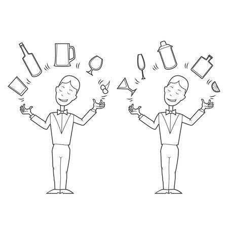 barman: Cartoon style barman juggles with bar stuff. Vector illustration.