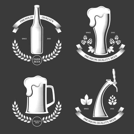 Beer pub vintage labels set vector illustration. Vettoriali