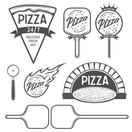 Pizza etiketten, badges en design elementen in vintage stijl.