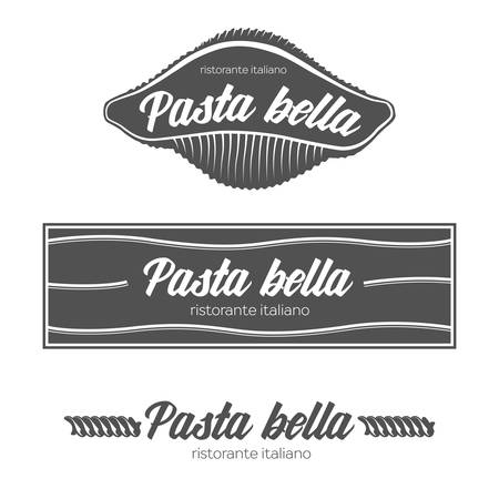 fon: Italian pasta restaurant badges. Isolated on whine fon. Design elements.