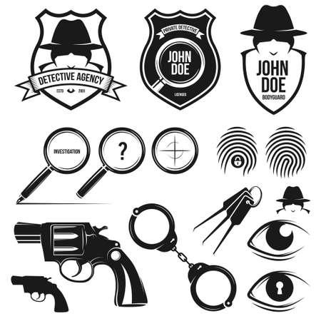hombre con sombrero: Agencia de detectives privados. Vector elementos de dise�o conjunto de herramientas.