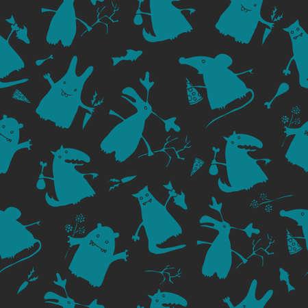 nursling: Hand drawn cartoon style animals. Seamless pattern.