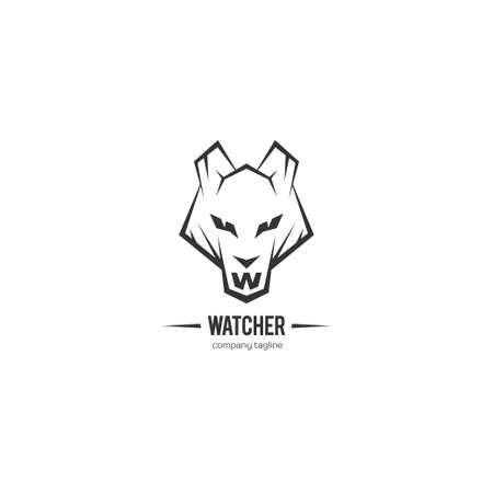 watcher: Wolf icon. Vector illustration.