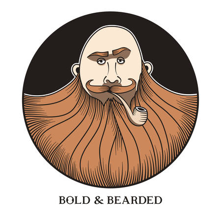 Hand drawn portrait of bold and bearded man with smoking pipe.