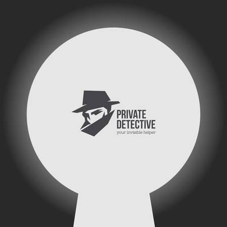 Privé-detective vector logo met slogan. Stock Illustratie