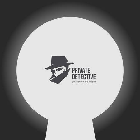 secret agent: Private detective vector logo with slogan.