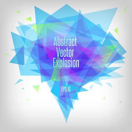 Abstracte blauwe tinten driehoek explosie. Vector illustratie.