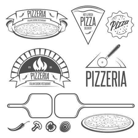 pizza oven: Pizza labels, badges and design elements in vintage style.