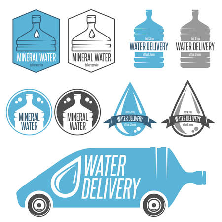 man drinking water: Water delivery set of badges, labels and design elements.