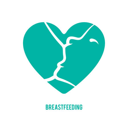 Breast feeding sign. Logo in line-art style. Çizim