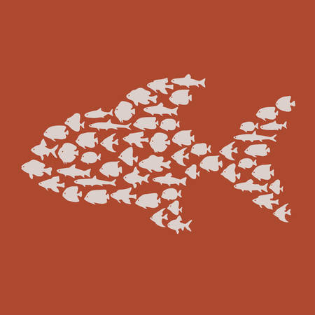 big fish: Simple plain style big fish mosaic illustration. T-shirt or bag print design. Illustration