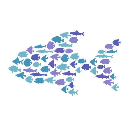 Simple plain style big fish mosaic illustration. T-shirt or bag print design. Illustration