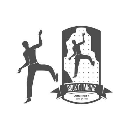 ice climbing: Rock climbing emblem in high resolution. Vintage design element.