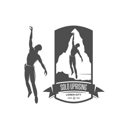 ice climbing: Solo uprising emblem in high resolution. Vintage design element. Stock Photo
