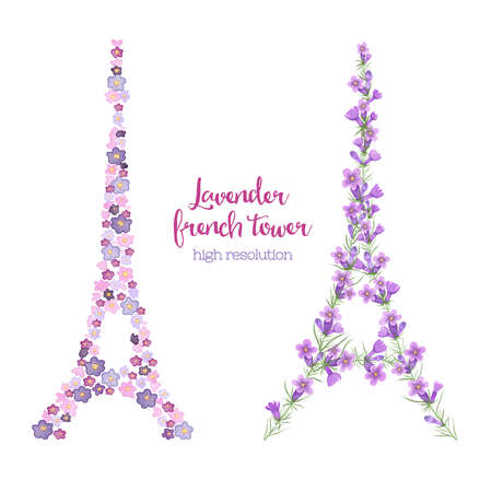 eifel tower: Watercolor eiffel tower made of lavender branches. T-shirt or bag design.